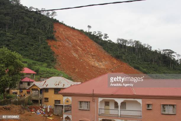 A view of Regent region of Freetown after landslide struck the capital of the west African state of Sierra Leone on August 15 2017 At least 312...