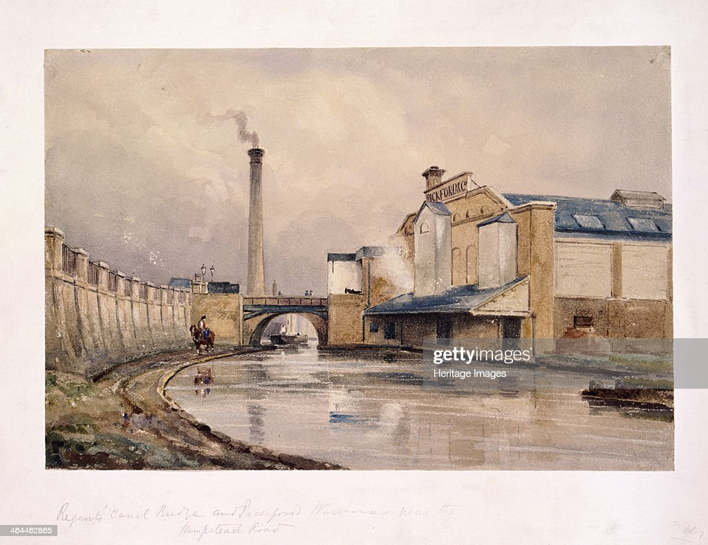 View of Regent's Canal and Southampton Bridge Camden London c1880 looking east