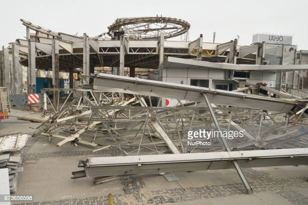 A view of remains of the controversial PKO Rotunda building after demolition seen from the Palace of Culture and Science side On January 20 the...