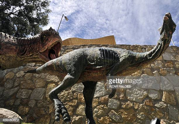 View of replicas of Abelisaurus dinosaurs on dispaly at the Cretaceous Park in Cal Orcko hill in Sucre on September 17 2014 More than 5000 pawprints...