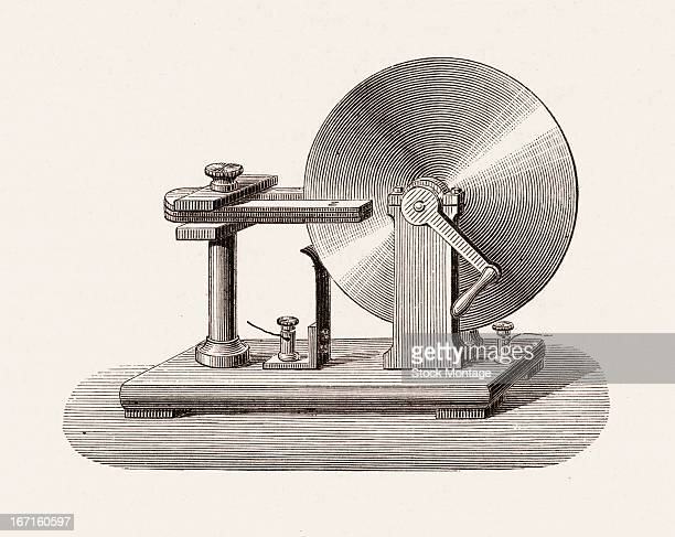 View of research laboratory apparatus similar to the type electric generator sometimes called a Faraday disk mid 19th century Electric current is...