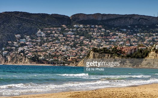 View of residential neighborhood in the seaside village of Calpe in Southern Spain : Foto stock