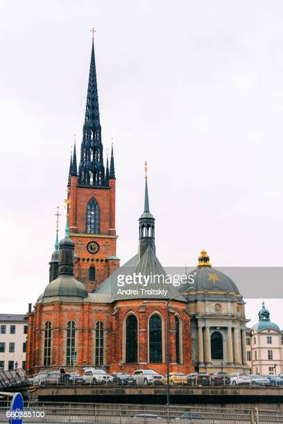 View of Riddarholm Church in Stockholm's Old town (Gamla Stan), Sweden