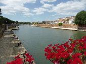 View of river and Roman bridge of Rimini