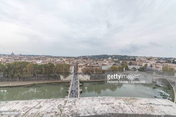 View of river Tiber from Castel Sant'Angelo Rome Italy