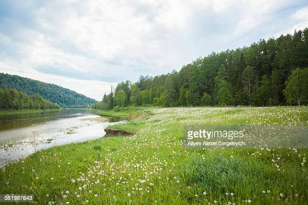 View of river valley and forest, Sarsy Village, Sverdlovsk Oblast, Russia