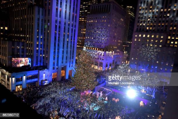 A view of Rockefeller Plaza during the 85th Rockefeller Center Christmas Tree Lighting Ceremony at Rockefeller Center on November 29 2017 in New York...
