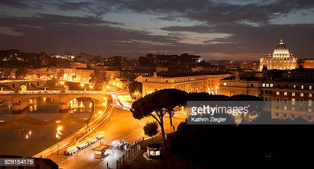 view of Rome after sunset