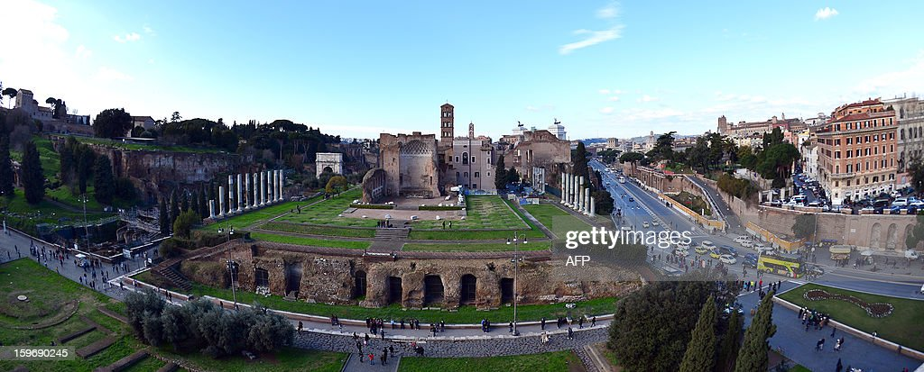 A view of Rome from the Colosseum on January 18, 2013 in Rome. Traces of decorations in blue, red and greenwere found in a corridor currently closed to the public while archaeologists were working to restore an area between the second and third floor of the Colosseum, which has fallen into disrepair in recent years.