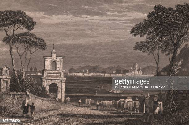 View of Rome with the dome of St Peter's Basilica on the right Lazio Italy steel engraving from a drawing by Samuel Prout ca 15x115 cm from The...
