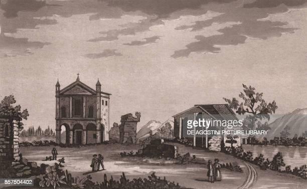 View of Roselle Grosseto Tuscany Italy aquatint 188x116 cm from Viaggio in Italia per Francesco Gandini ovvero descrizione Geografica Storica...