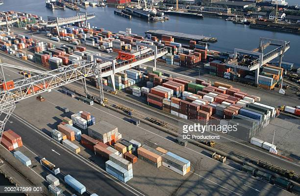View of Rotterdam Harbour, Holland, elevated view