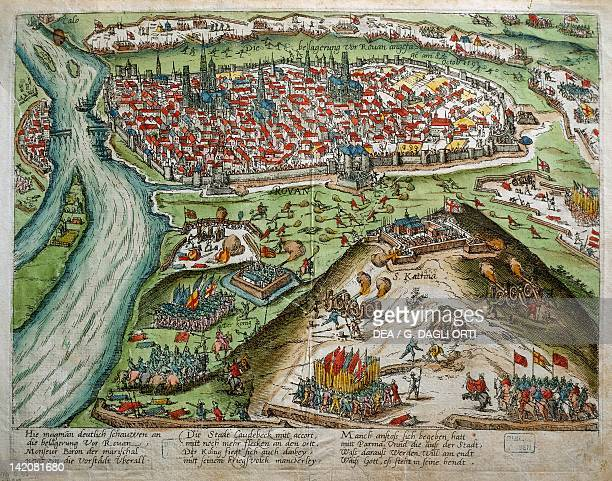 View Of Rouen by Haremberg France 16th Century Engraving