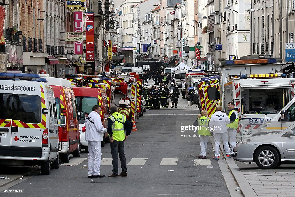 View of Rue de la Republique close to where the police raid occured earlier on November 18 2015 in SaintDenis France French Police special forces...