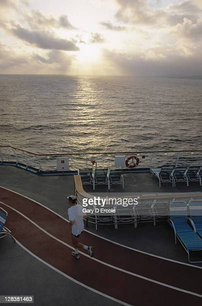 View of running track on board cruise ship