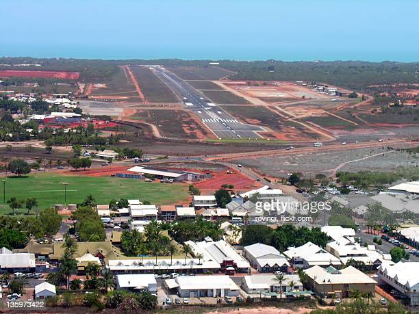 View of runway with hoses aside