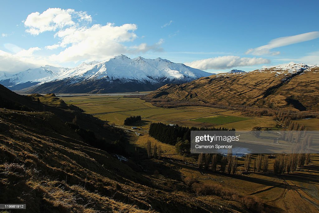 A view of rural farmland from the Southern Alps on July 28, 2011 in Wanaka, New Zealand.