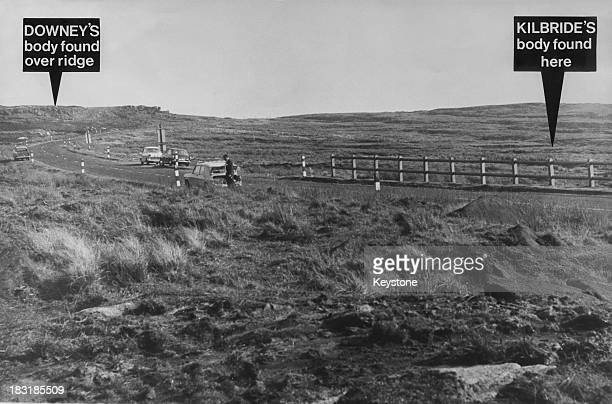A view of Saddleworth Moor in the South Pennines annotated to show the burial locations of two of the victims of Moors murderers Ian Brady and Myra...