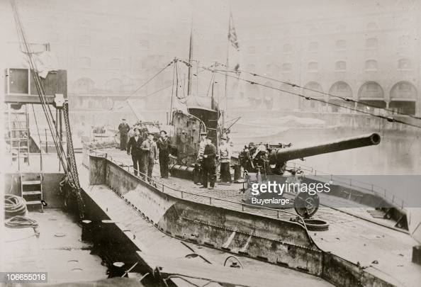View of sailors as they stand on the deck of an unspecified German ...