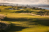 View of golf courts near Saint Andrews, Fife, Scotland