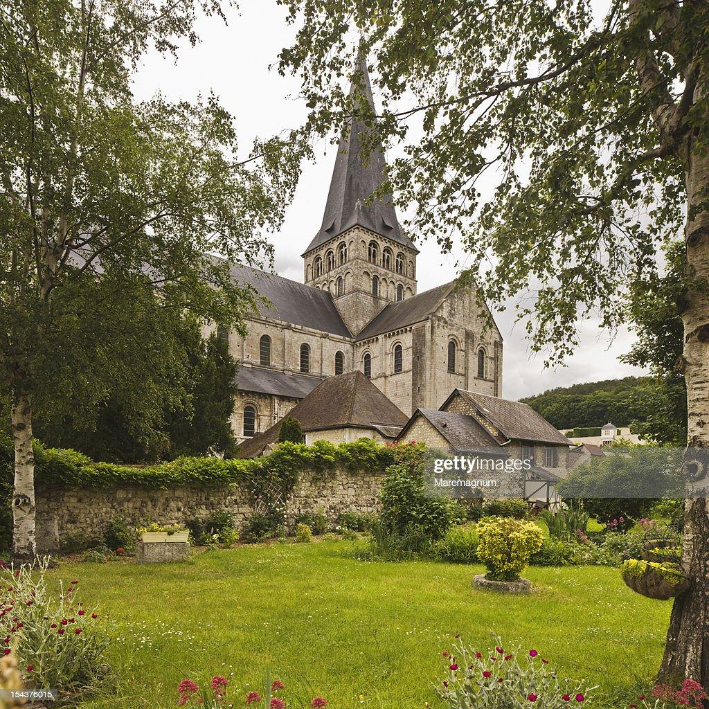 View of Saint Georges de Boscherville abbey : Stock Photo