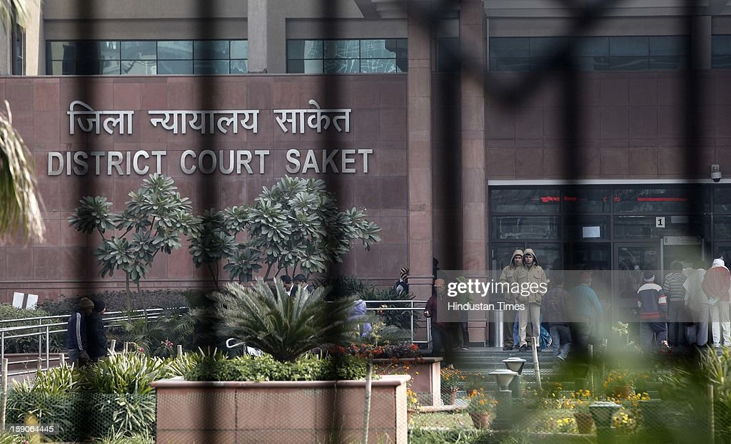 View of Saket District Court where the five men accused in a gang rape case are brought for trial on January 7, 2013 in New Delhi, India. The men are accused of a gang rape of a 23 year old girl who later died due to injuries. The incident has caused outrage across India, sparking protests and demands for tough new rape laws and led to setting of special fast track courts exclusively for offences against women.