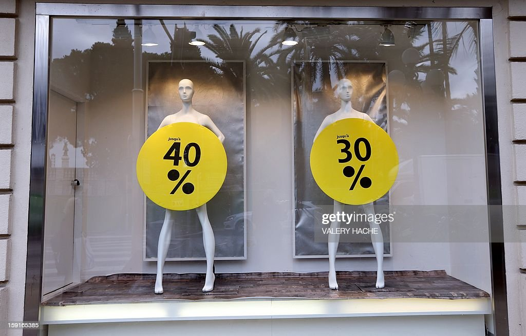 A view of sale signs during the annual winter sales ,in Nice, southeastern France, on January 9, 2013.