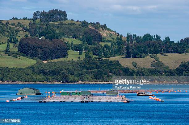 View of salmon farms near Chiloe Island in southern Chile