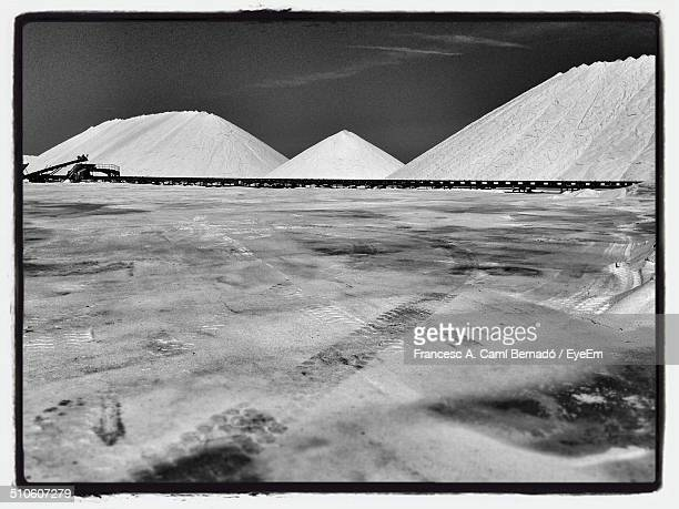 View of salt pans against the sky