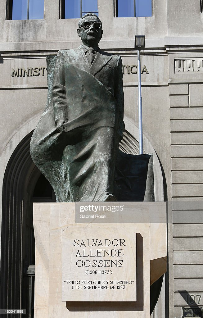 View of Salvador Allende Gossens Statue on March 17, 2014 in Santiago, Chile.