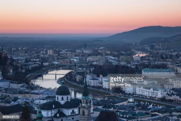 View of Salzburg from Hohensalzburg Castle during dusk