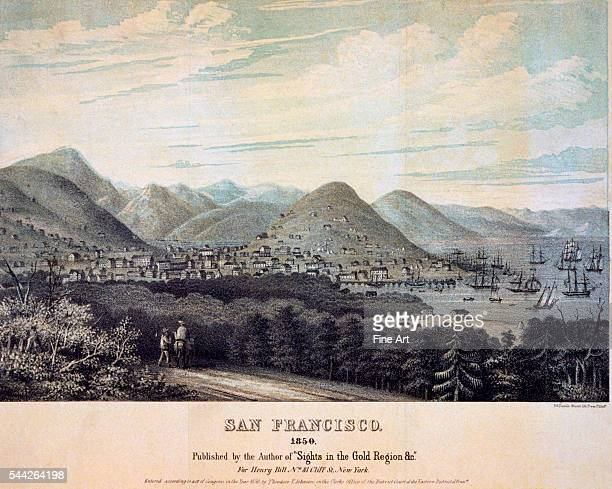 View of San Francisco and San Francisco Bay color lithograph by PS Duval Company Philadelphia c 1850 from the series 'Sights in the Gold Region'