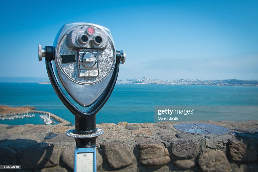 View of San Francisco from coin operated binoculars, Marin County, California, USA