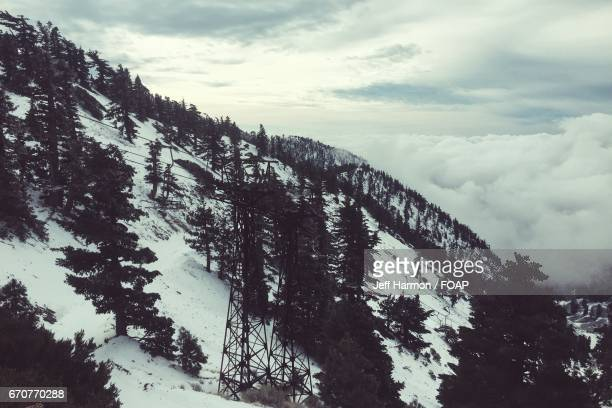 View of san gabriel mountain in winter