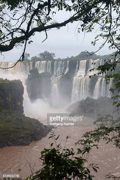 View of San Martin and Bossetti Falls one of the waterfalls of Iguassu Falls on the Argentine side of Iguassu National Park