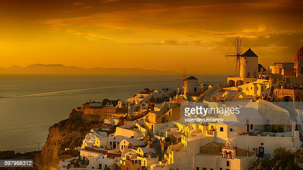 View of Santorini gold sunset, Greece