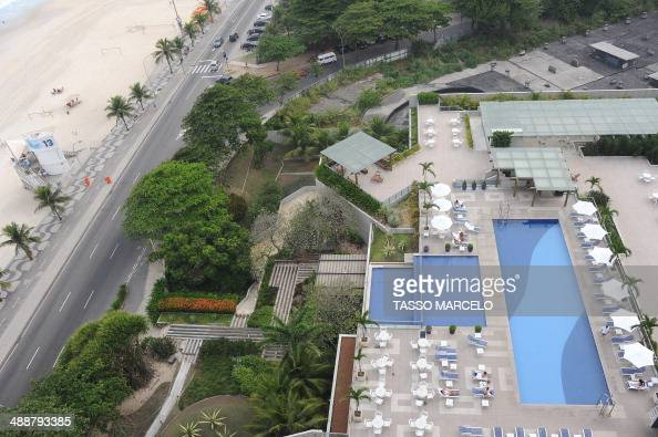 View of Sao Conrado beach in front of the hotel which will host the England national football team during the FIFA World Cup Brazil 2014 in Rio de...