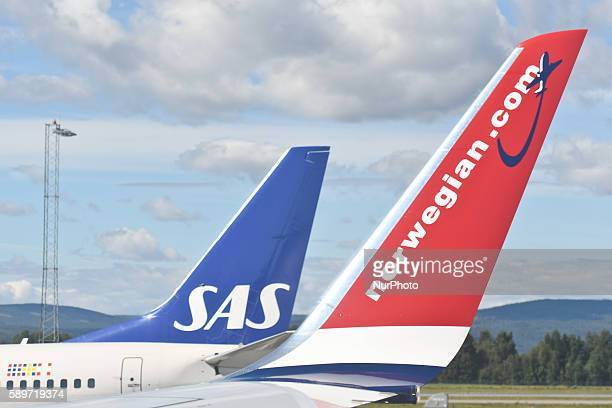 A view of SAS and Norwegian planes at Oslo Gardermoen International Airport On Monday 15 August 2016 in Gardermoen Norway