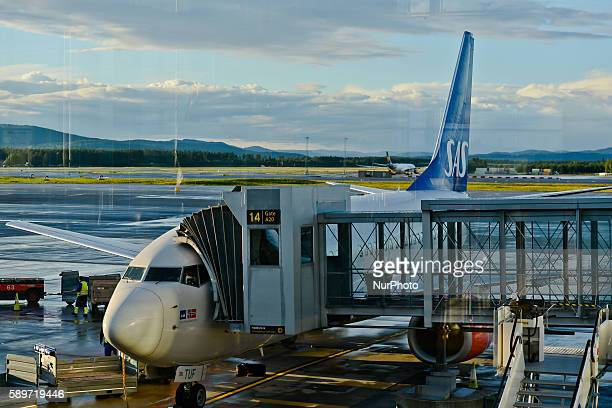 A view of SAS plane at Oslo Gardermoen International Airport on Monday 15 August 2016 in Gardermoen Norway