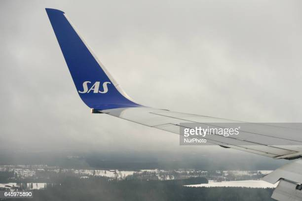 A view of SAS plane over Gardermoen Oslo Airport On Monday February 27 Oslo Norway