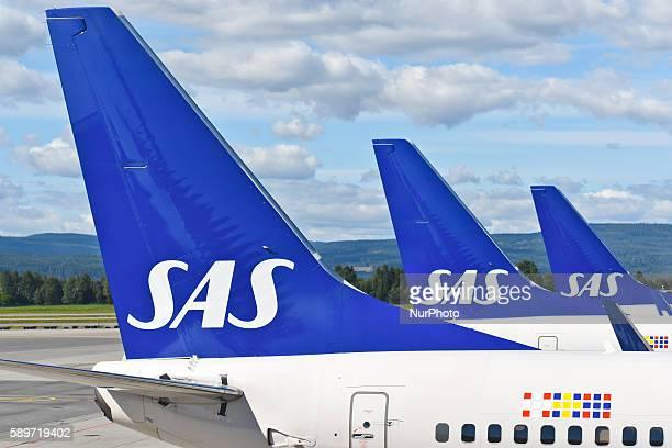 A view of SAS planes at Oslo Gardermoen International Airport on Monday 15 August 2016 in Gardermoen Norway