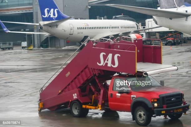 A view of SAS plane/stairscar at Gardermoen Oslo Airport On Monday February 27 Oslo Norway