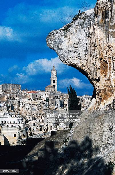 View of Sasso Caveoso with the bell tower of the Cathedral of Our Lady of Bruna and Saint Eustace in the background Matera Basilicata Italy