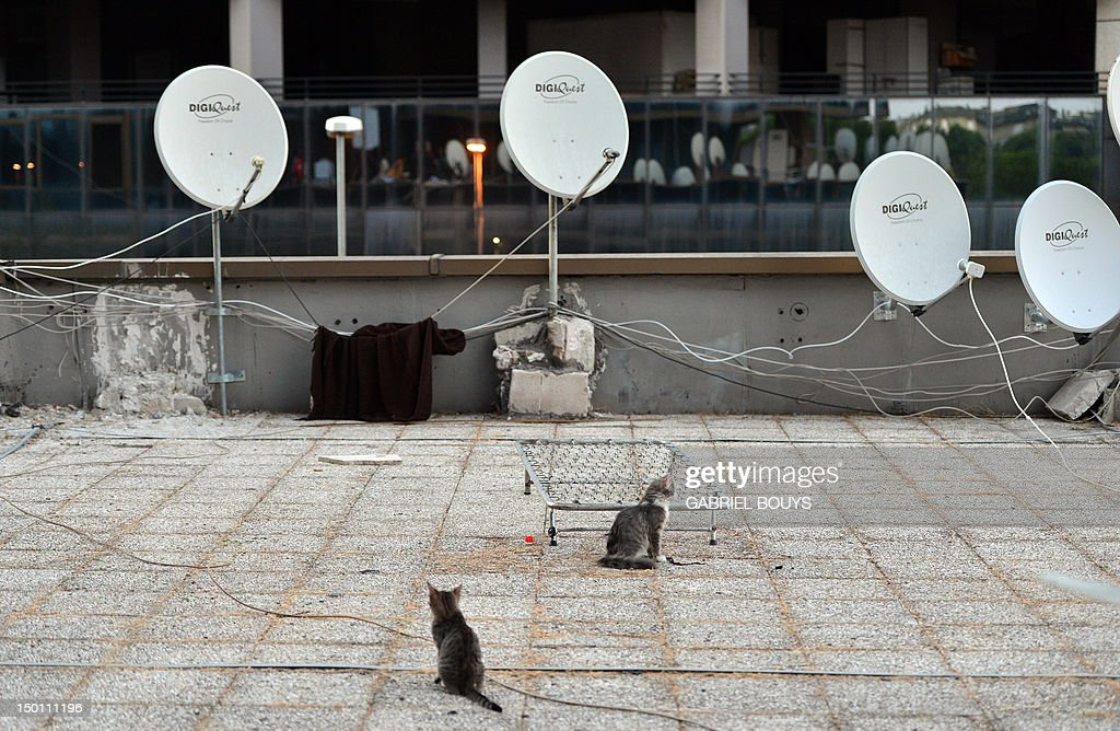 View of satellite antennas or dishes at the courtyard of the Salaam Palace, on July 12, 2012 in Rome. The Salam Palace is a giant squat where more than 800 refugees from Ethiopia, Sudan, Somalia and Eritrea leave together since 2006 in a building in Tor Vergata, a suburb outside Rome.