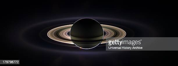 View of Saturn's rings as they surround the planet Cassini