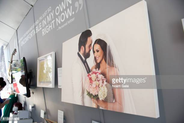 A view of Scheana Marie and Michael Shay's wedding photo on display at 'The EXhibition' presented by Bravo And The Museum Of Broken Relationships at...