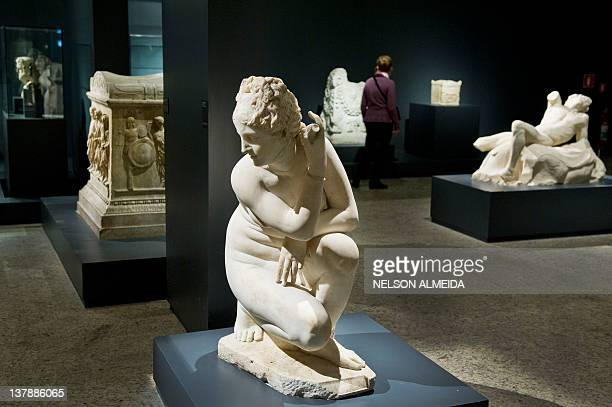 View of sculptures on display during the 'Rome The Life and Emperors' exhibition at the Art Museum of Sao Paulo on January 28 in Sao Paulo Brazil The...
