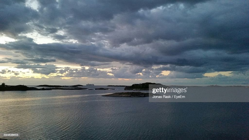 View Of Sea Against Cloudy Sky At Stockholm Archipelago