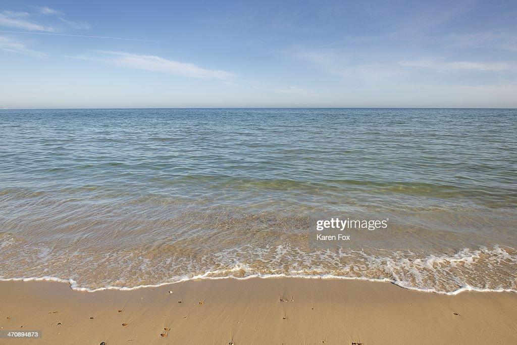 View of sea and beach, Poole, Dorset, UK : Stock Photo