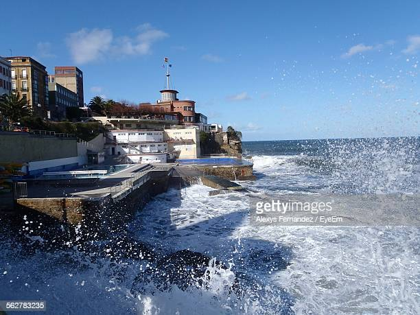 View Of Sea Waves Splashing At Coast